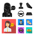 a taxi driver with a microphone a taxi driver at vector image vector image
