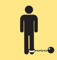 Bathroom male icon with ball and chain silhouette vector image