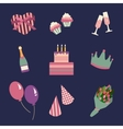Birthday party icons set and celebration icon vector image vector image