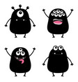 black monster silhouette set cute cartoon scary vector image vector image