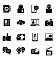 black social media network and internet icons vector image