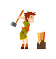 boy scout character in uniform chopping the wood vector image vector image