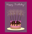 cake with roses and sparklers vector image