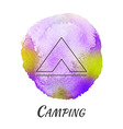 Camping Tent Travel Watercolor Concept vector image vector image