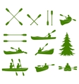 Canoe silhouettes Rafting vector image vector image