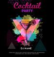 cocktail cosmopolitan on artistic polygon vector image vector image