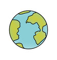 colored crayon silhouette of earth globe icon vector image vector image