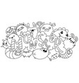 coloring book monsters kawaii style vector image
