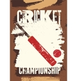 Cricket typographical vintage grunge style poster vector image
