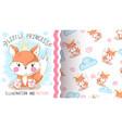 cute teddy fox - seamless pattern vector image vector image