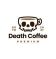 death coffee skull cup drink logo icon vector image