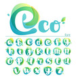 ecology lowercase alphabet overlapping watercolor vector image vector image
