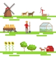 Farming Elements In Geometric Style Set Of vector image vector image