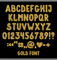 gold glitter english alphabet punctuation marks vector image