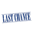 last chance blue grunge vintage stamp isolated on vector image vector image