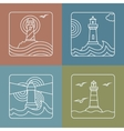 lighthouse logo design templates linear vector image vector image