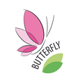 logo pink butterfly and petals vector image vector image