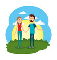 lovers couple in the camp scene vector image vector image