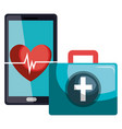 medical kit with smartphone vector image