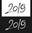 new year 2019 greeting card in black and white vector image vector image
