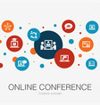 online conference trendy circle template vector image