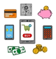 Online trading flat concept vector image vector image