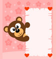 pink valentines day background with bear vector image vector image