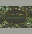 polygonal gold frame with leaves of a forest fern vector image vector image