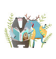 reading book moose and bear vector image vector image