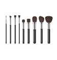realistic detailed 3d makeup tools row set vector image