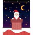 santa claus at xmas night in chimney vector image