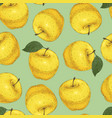 seamless pattern yellow apples vector image vector image