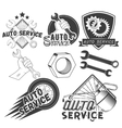 set auto service labels in vintage style vector image