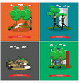 set of military square posters in flat vector image vector image