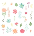 Set of various stylized flowers and elements vector image