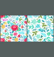 set wallpapers with pencil drawn flowers vector image vector image