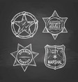 sheriff stars on blackboard vector image vector image
