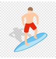 surfer man on surfboard isometric icon vector image vector image