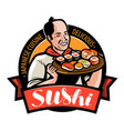sushi food logo or label japanese cuisine vector image vector image
