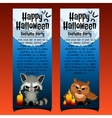 Two vertical cards with angry raccoon and owl vector image vector image