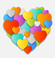 Valentines Day Card with beautiful colorful hearts vector image vector image