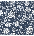 White and blue seamless pattern with roses vector image vector image