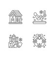 winter season traditions linear icons set vector image