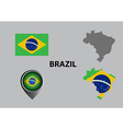 Map of Brazil and symbol vector image