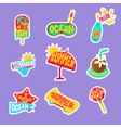 Summer Beach Holidays Stickers With Text Set vector image