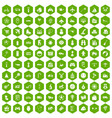 100 toys for kids icons hexagon green vector image vector image