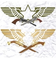 Badges with wings and arms vector image