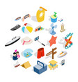 beach activity icons set isometric style vector image vector image
