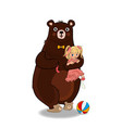 bear hug and holding in paws little baby girl vector image