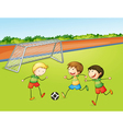 boys playing football vector image vector image